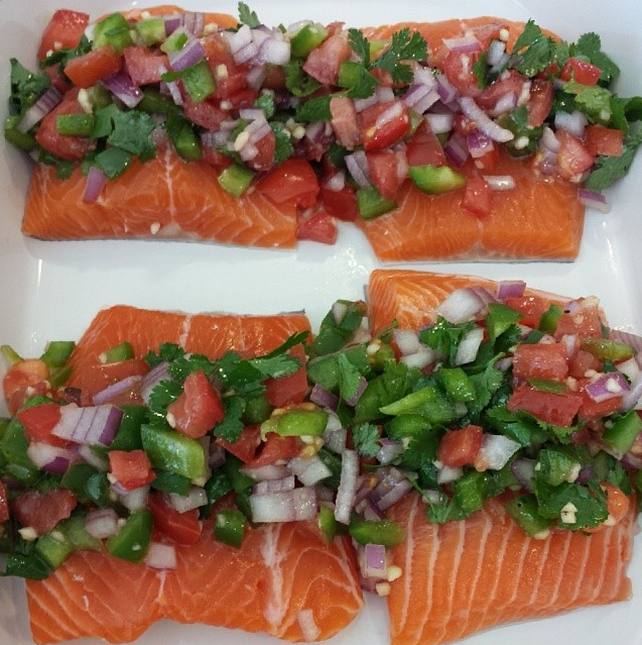 Fiesta Salmon Fillets are going in the oven!