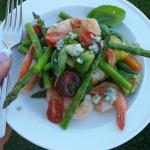 My Plate Shrimp, Tomato, Basil, asparagus, gorgonzola Salad