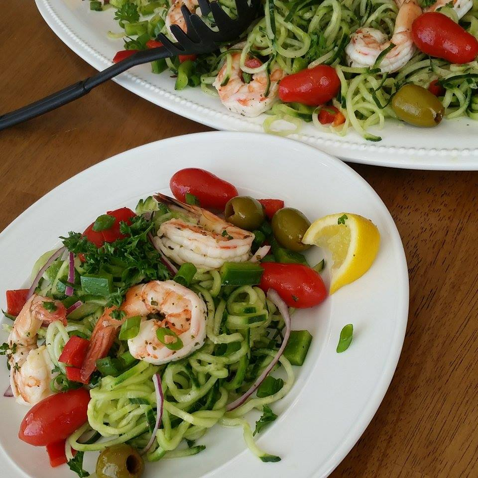 Panderno Spiralizer Cucumber Noodles with Shrimp Salad and Homemade Greek Dressing Recipe