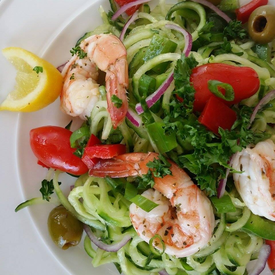 Spiralizer Cucumber Noodles Shrimp Salad with Greek Dressing
