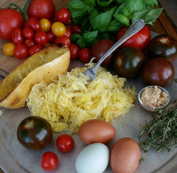CleanFoodCrush Margarita Pizza with Spaghetti Squash Crust Prep