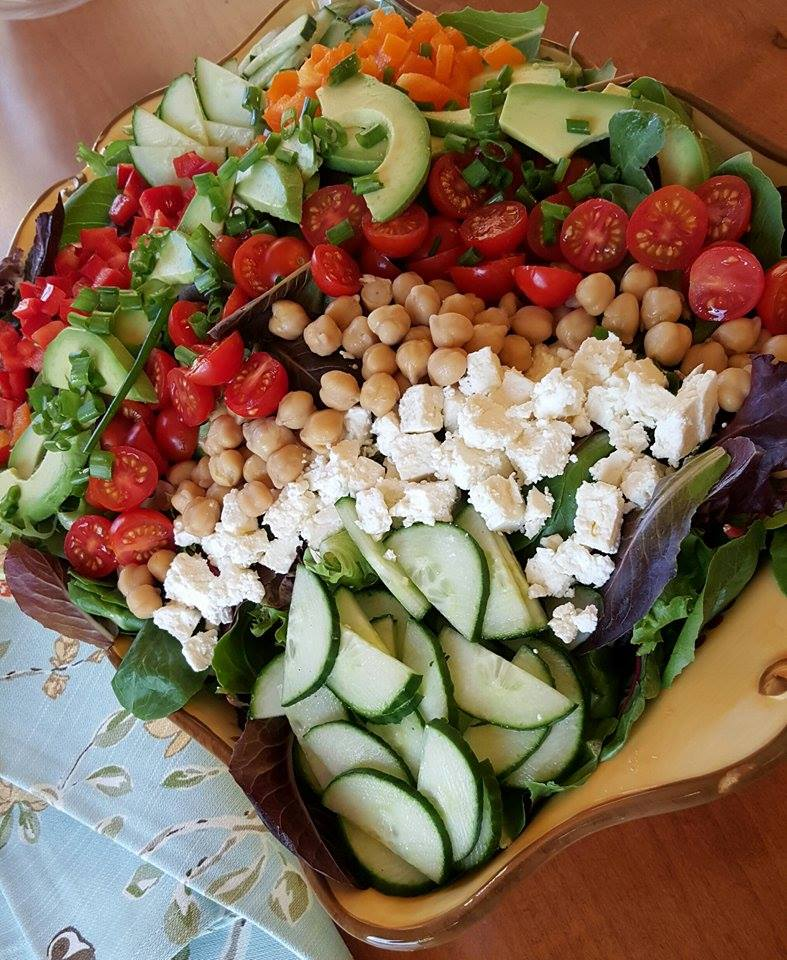 Clean Eating Feta Chickpea Salad with Creamy Garlic Dressing