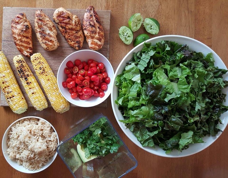 CleanFoodCrush Family Sized Burrito Bowls with Avocado Cilantro Dressing Prep http://cleanfoodcrush.com/burrito-bowls-avo-cilantro-dressing/