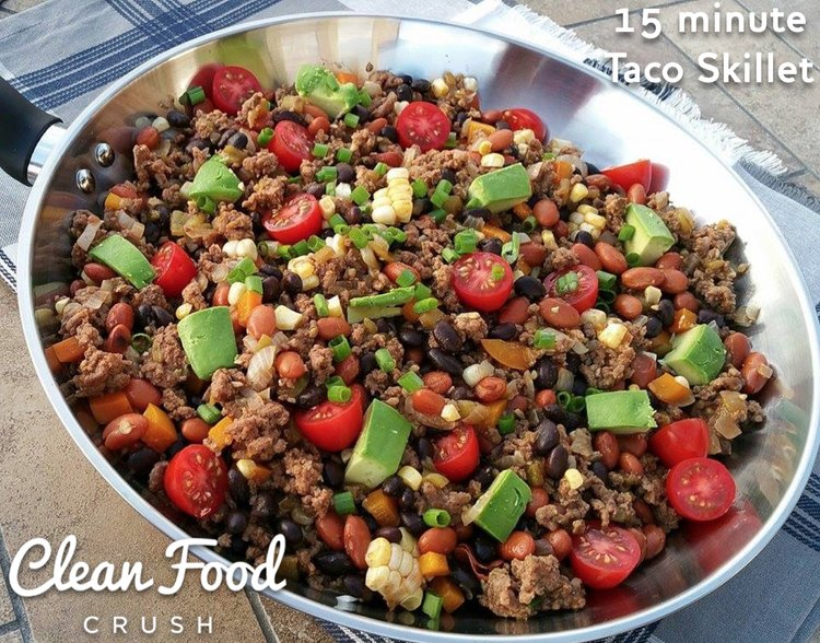 15 minute Taco Skillet Recipe http://cleanfoodcrush.com/taco-skillet/