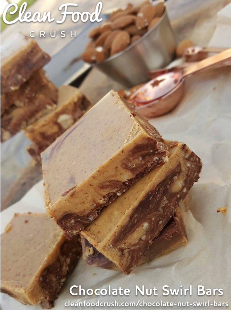 Amazing Chocolate Nut Swirl Bars Recipe http://cleanfoodcrush.com/chocolate-nut-swirl-bars/
