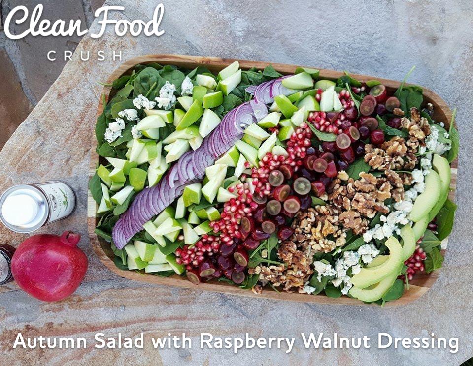 Autumn Salad with Raspberry Walnut Dressing