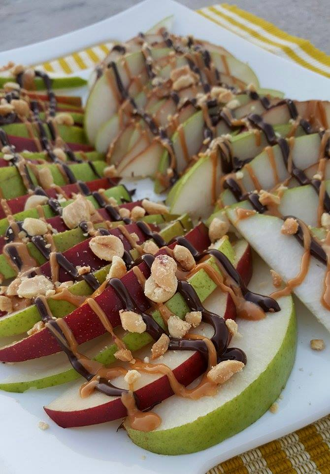 fresh fruit nachos with peanut butter and chocolate