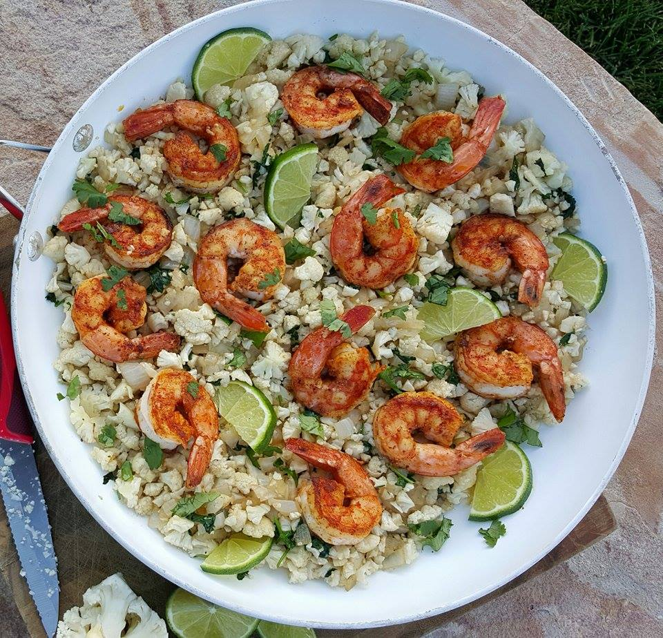 Cilantro-Lime Cauliflower Rice with Paprika Shrimp Recipe http://cleanfoodcrush.com/cilantro-lime-cauliflower-rice/