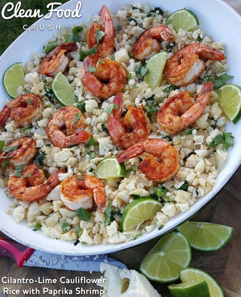 Cilantro-Lime Cauliflower Rice with Paprika Shrimp http://cleanfoodcrush.com/cilantro-lime-cauliflower-rice/