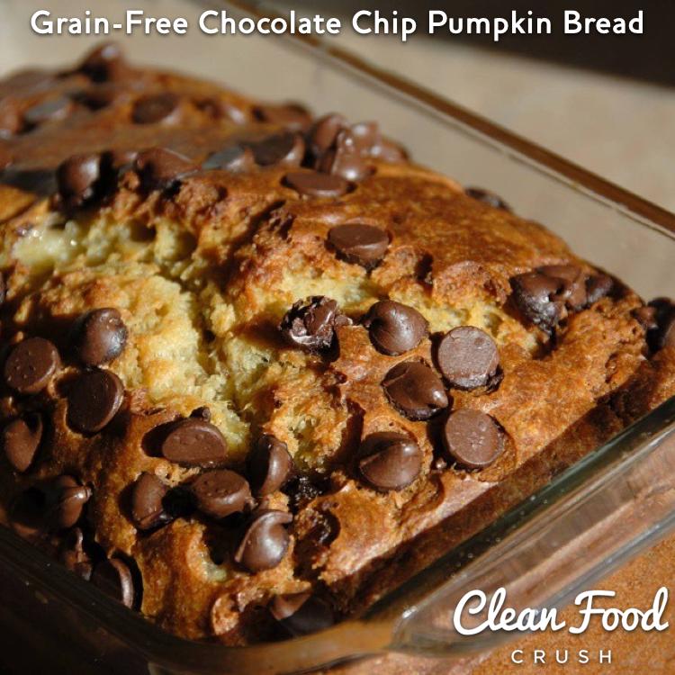 Grain-Free Chocolate Chip Pumpkin Bread http://cleanfoodcrush.com ...