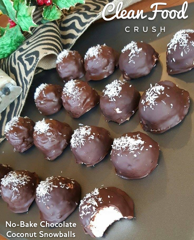 No-Bake Chocolate Coconut Snowballs clean eating recipe http://cleanfoodcrush.com/coconut-snowballs-recipe/