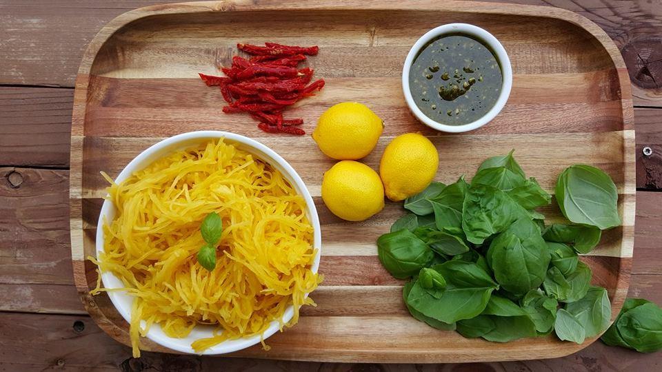Fresh Pesto Spaghetti Squash Skillet Prep
