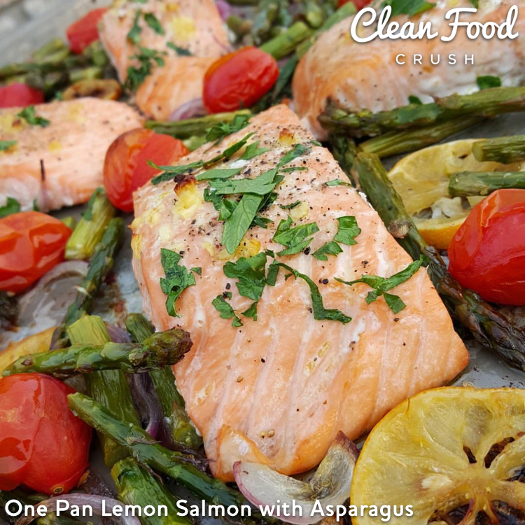 One Pan Lemon Salmon with Asparagus  http://cleanfoodcrush.com/one-pan-salmon/
