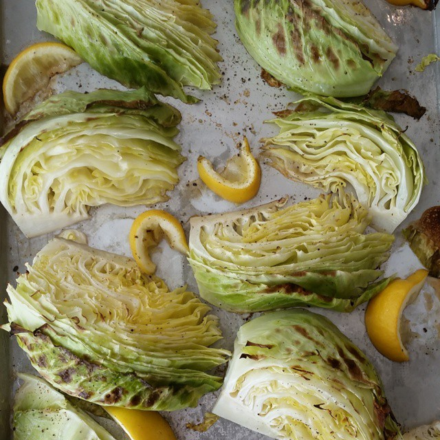 Roasted Lemon-Pepper Green Cabbage Wedges http://cleanfoodcrush.com/roasted-cabbage-wedges/