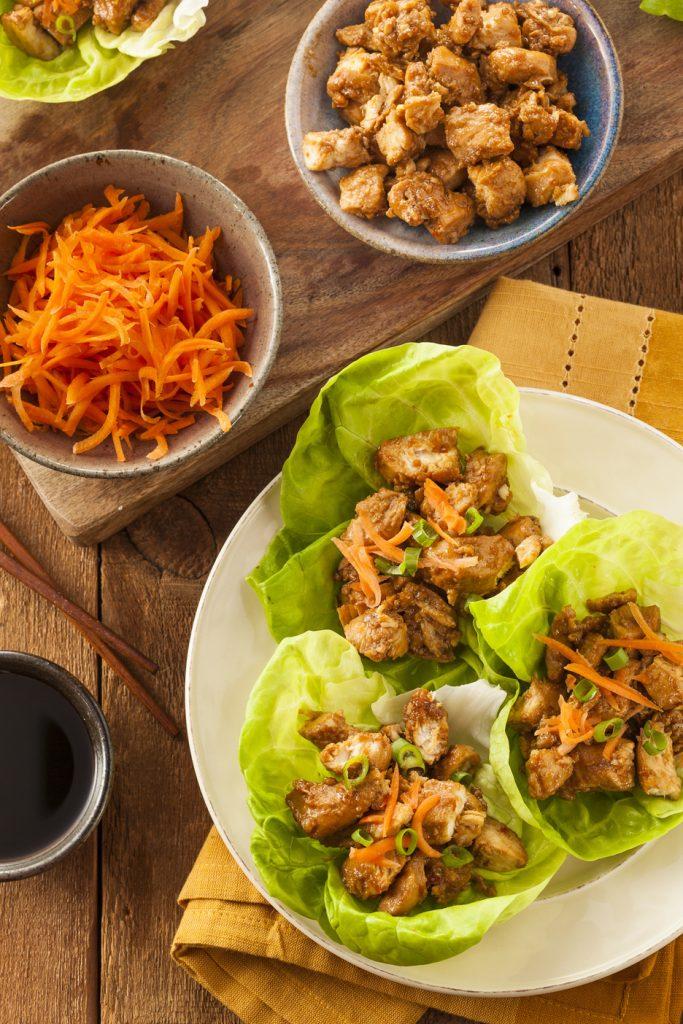Healthy Asian Chicken Lettuce Wrap http://cleanfoodcrush.com/honey-sesame-chicken-lettuce-wraps/
