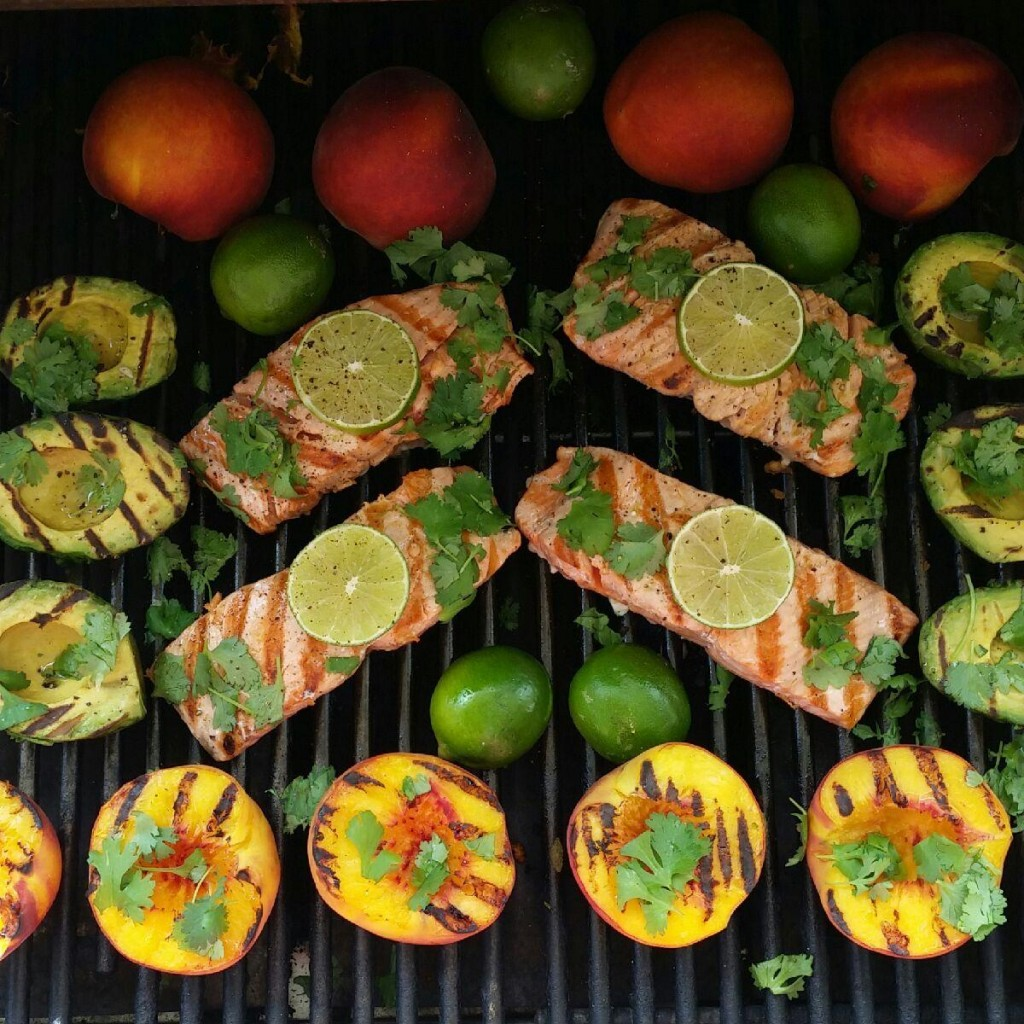 Grilled Salmon Avocados and Peaches Clean Eating Recipe