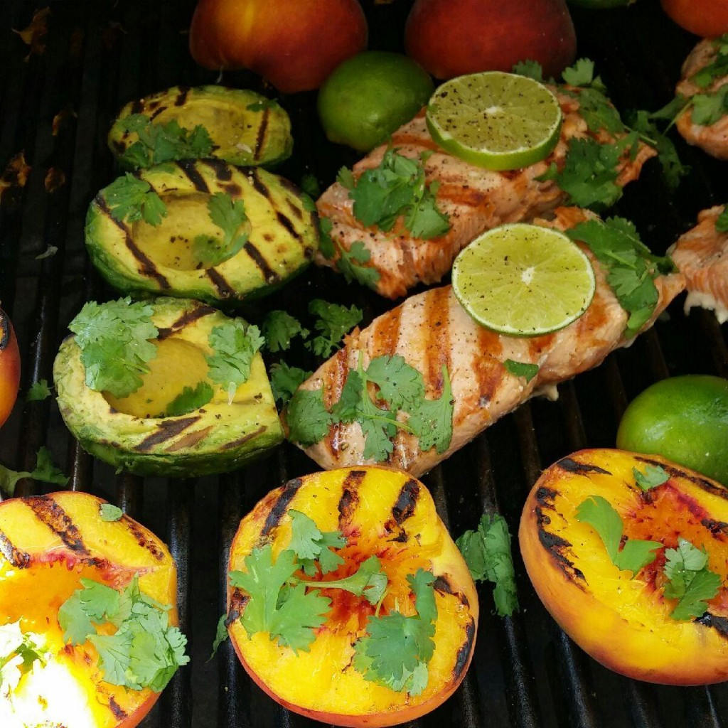 Grilled Salmon Avocados and Peaches Recipe