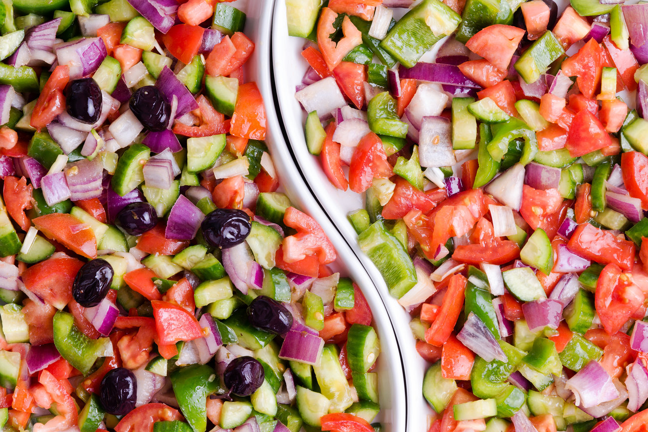 Turkish shepherd salad with and without olives