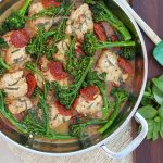 Sun-dried Tomato Chicken thighs with Broccolini Recipe http://cleanfoodcrush.com/sundried-tomato-chicken/