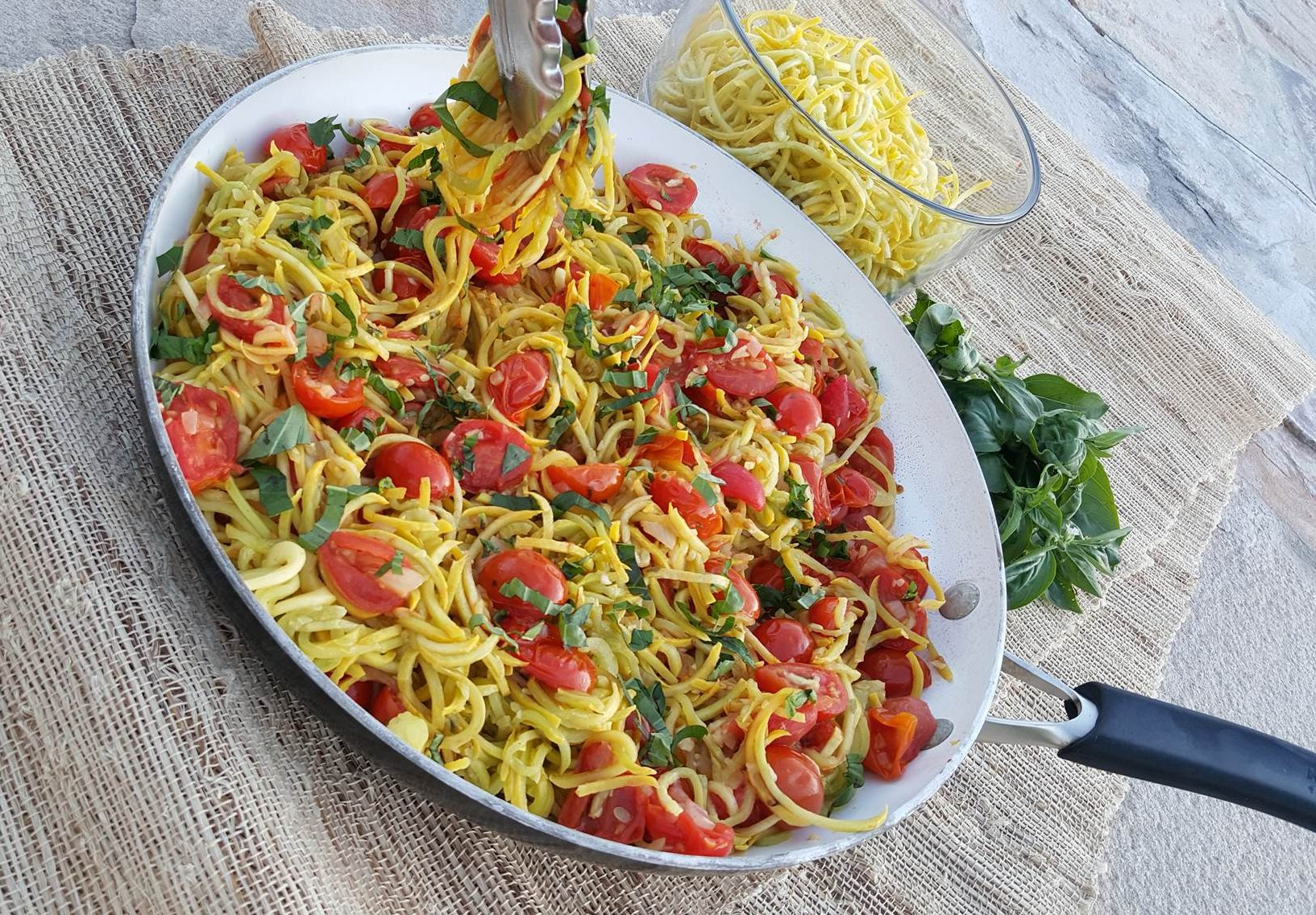 Yellow Summer Squash Noodles with Roasted Tomato Sauce