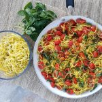Yellow Summer Squash Spaghetti with Roasted Tomato Sauce