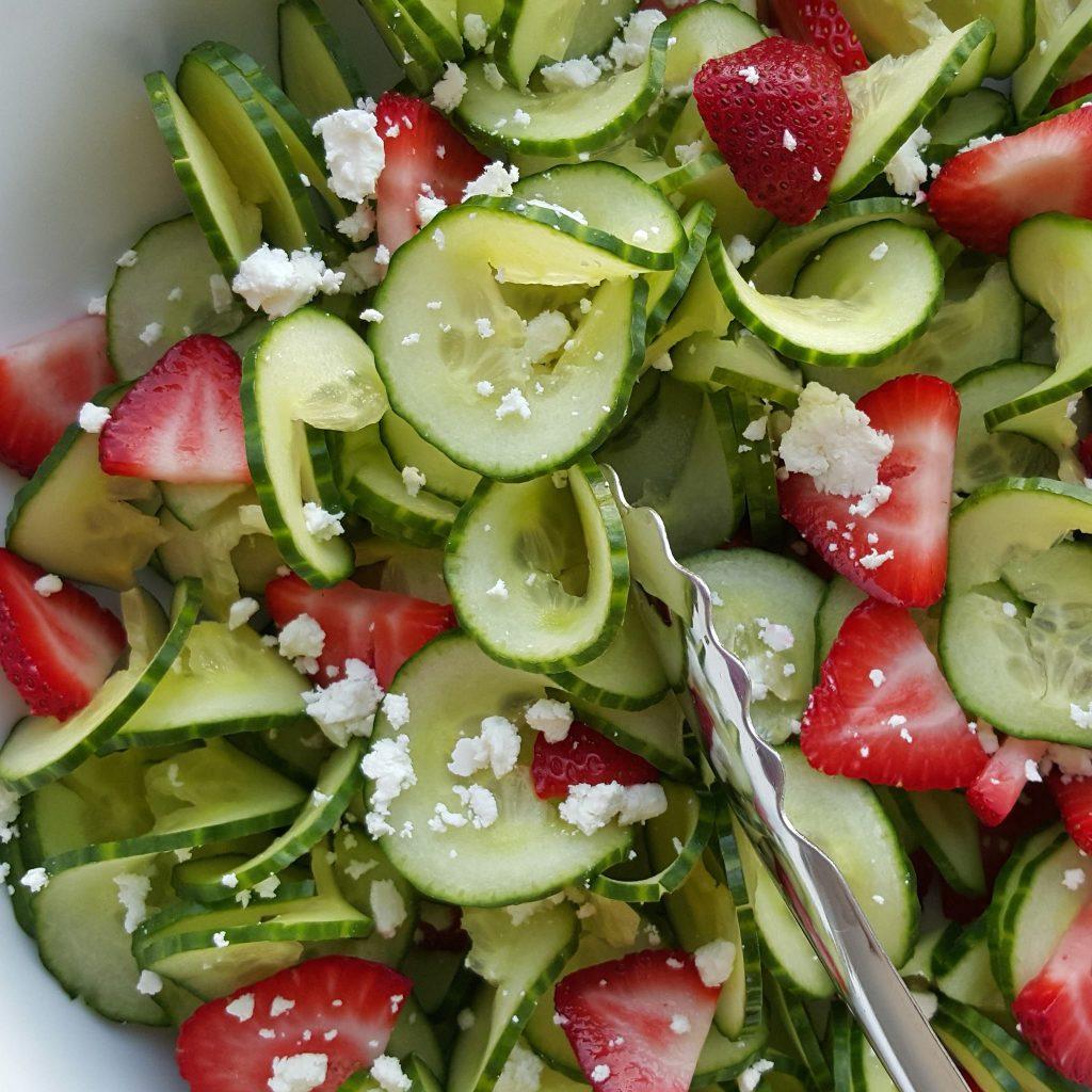 Cucumber Strawberry Salad CleanFoodCrush