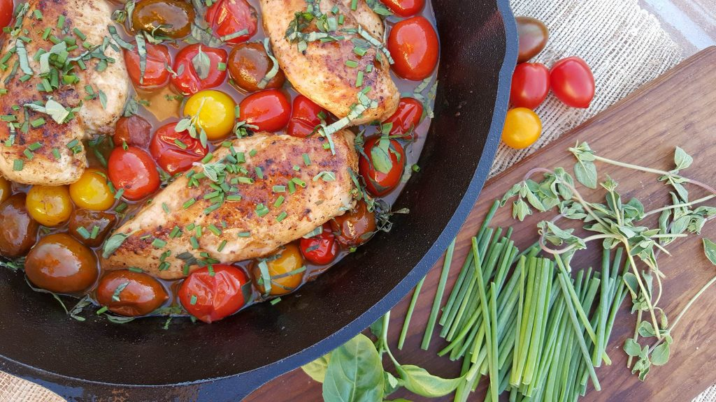 Clean Eating Recipes Balsamic Glazed Chicken Heirloom Tomatoes & Fresh Herbs http://cleanfoodcrush.com/balsamic-chicken-and-tomatoes/