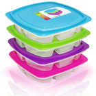 Happy Lunchboxes 4-compartment Leak Proof Bento Lunch Box Containers for Adults - Set of 4