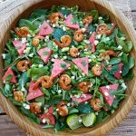 Chili Lime Shrimp & Watermelon with Baby Greens