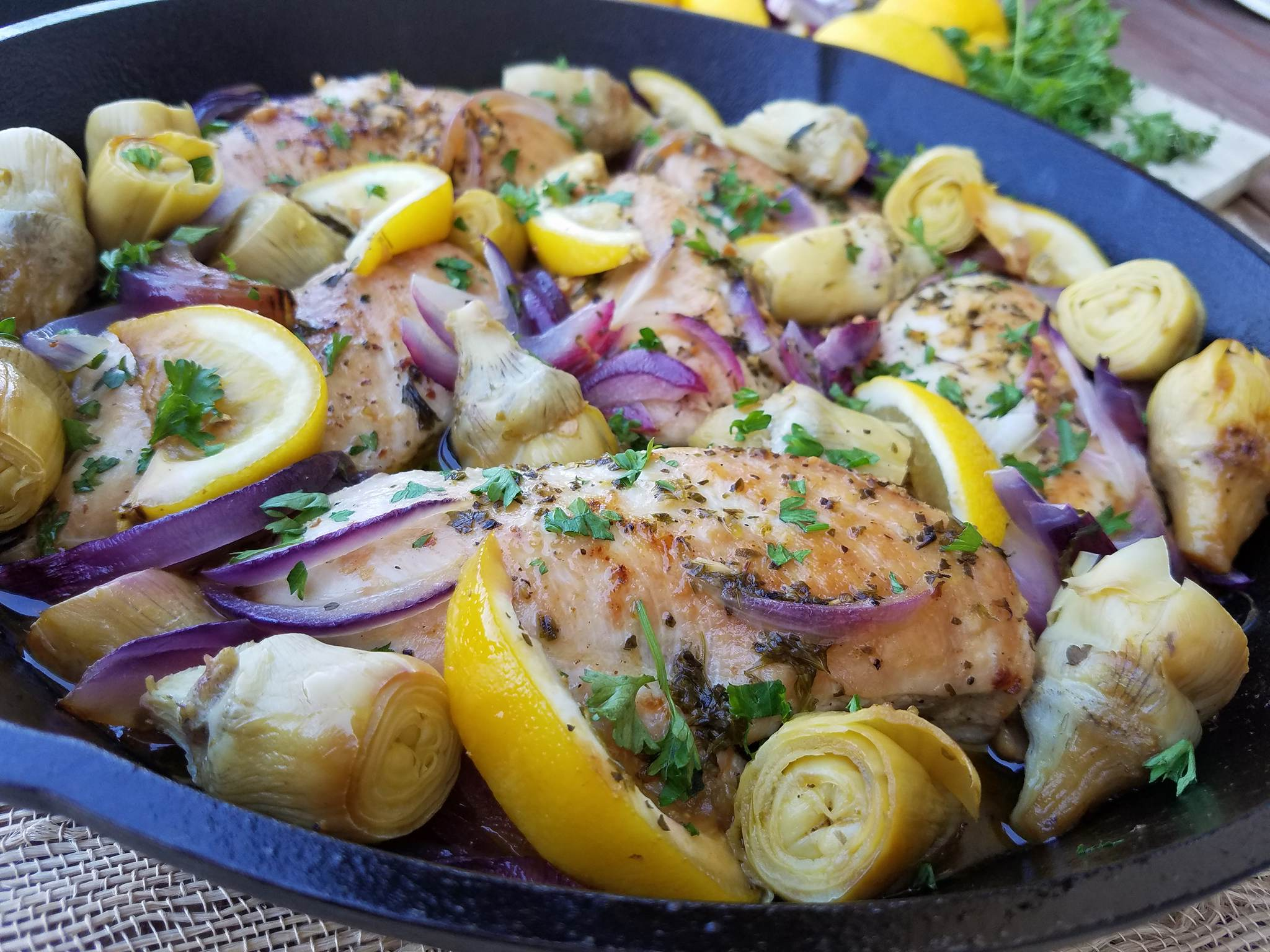 CleanFoodCrush 1-Pan Lemon Artichoke Chicken  http://cleanfoodcrush.com/lemon-artichoke-chicken/