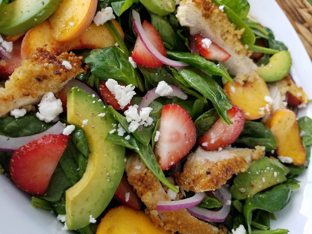 Crispy Quinoa Chicken & Strawberry Spinach Salad Clean Eating Recipe http://cleanfoodcrush.com/crispy-chicken-salad/