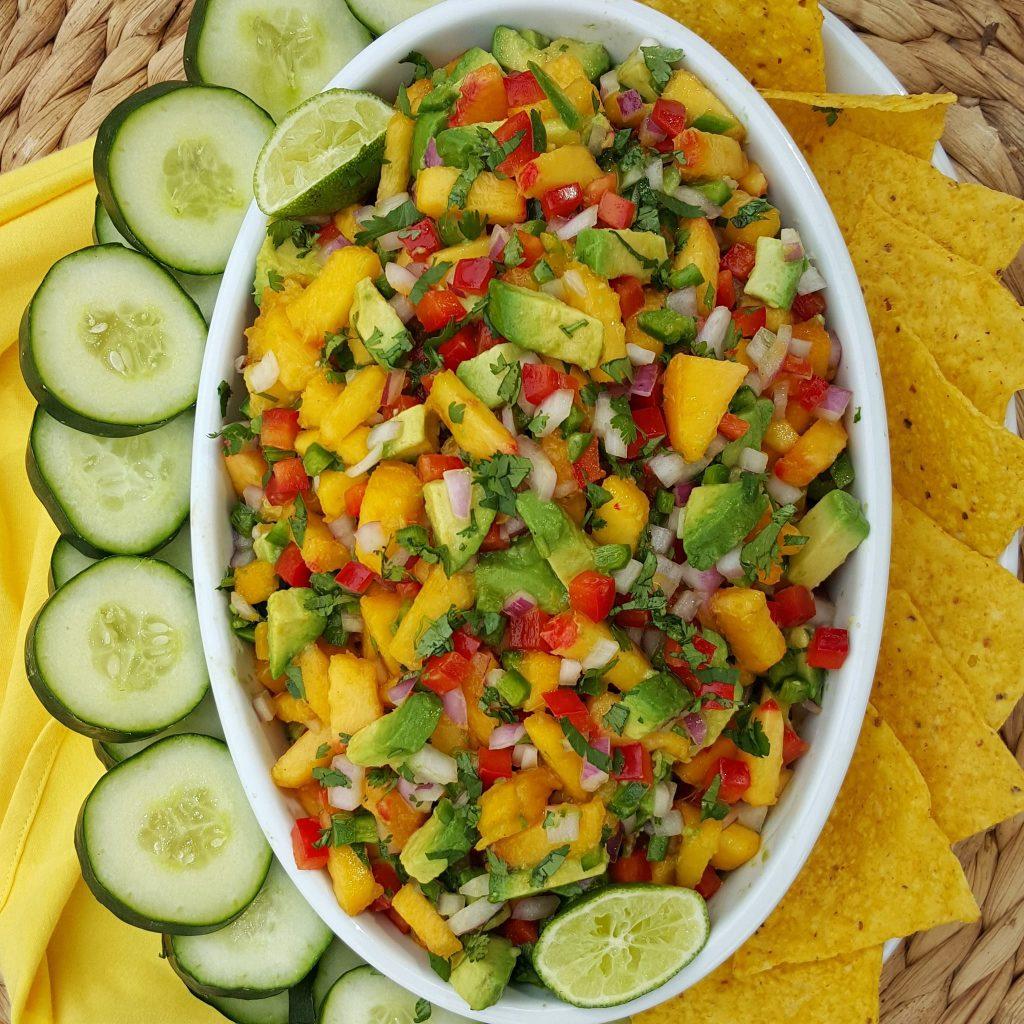 Peach Avocado Salsa Clean Eating Recipe http://cleanfoodcrush.com/peach-salsa/