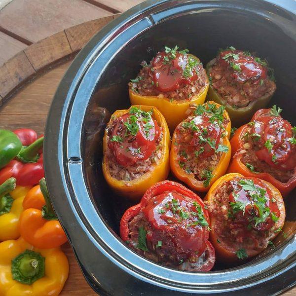 Crockpot Meatloaf Stuffed Peppers Clean Food Crush