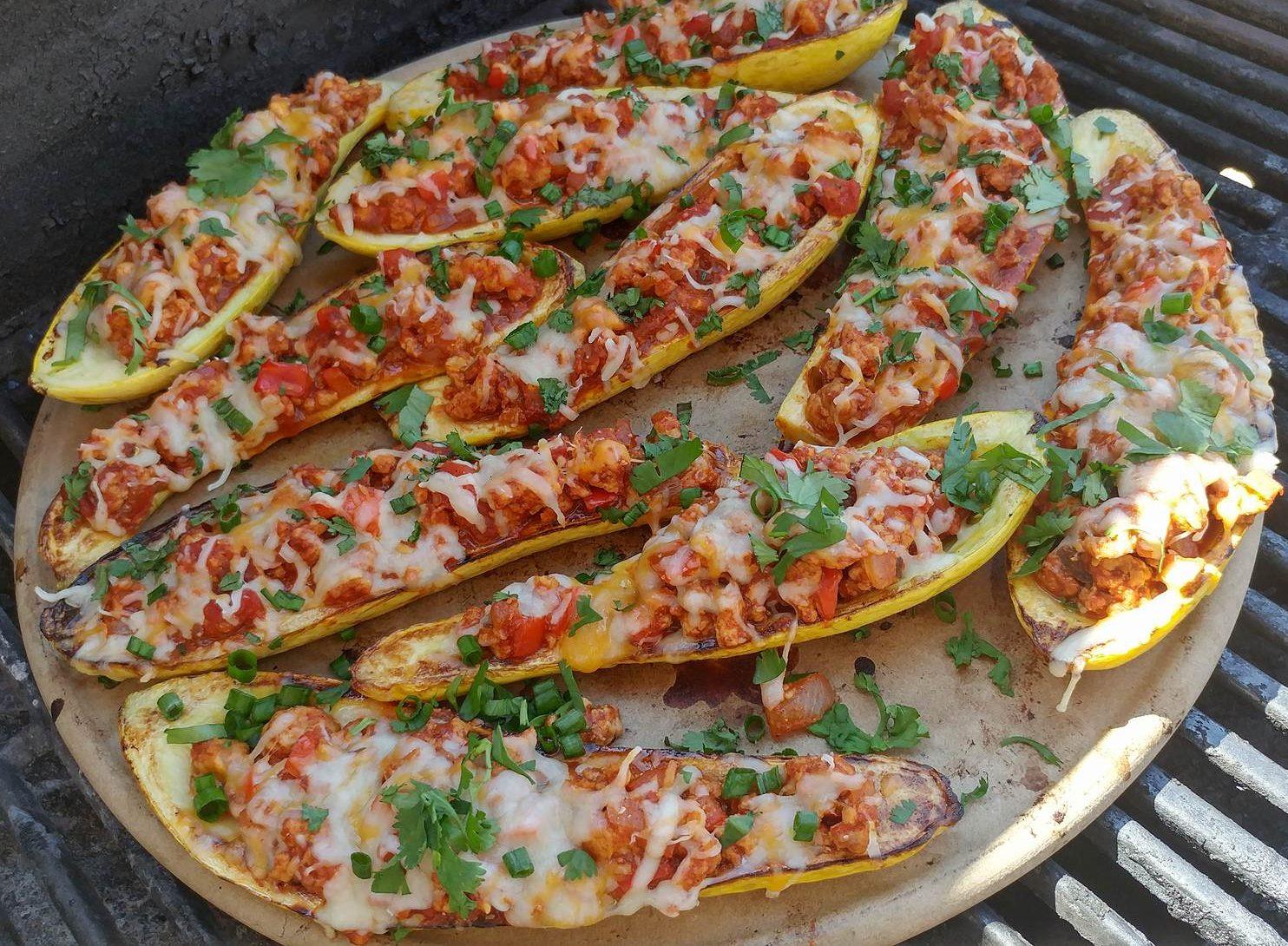 Taco Stuffed Summer Squash Boats http://cleanfoodcrush.com/taco-stuffed-squash/