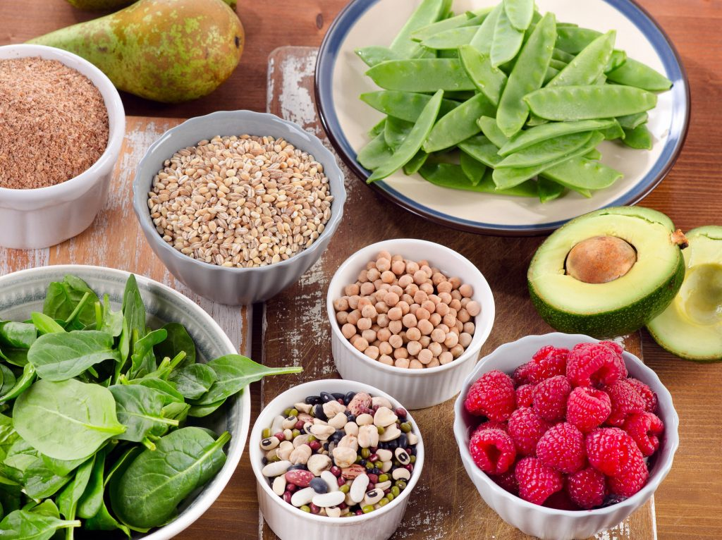 Foods rich in Fiber on wooden table.