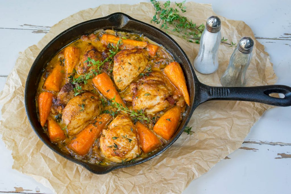 chicken-with-carrots-and-bacon-skillet-recipe