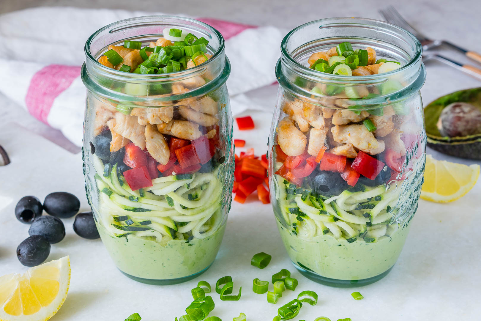 CleanFoodCrush Zoodle Chicken Salad-In-a-Jar