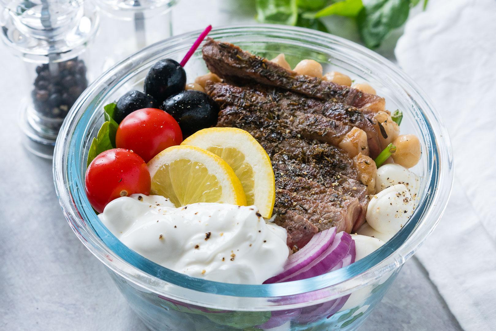 Mediterranean Steak Salad Bowls CleanFoodCrush