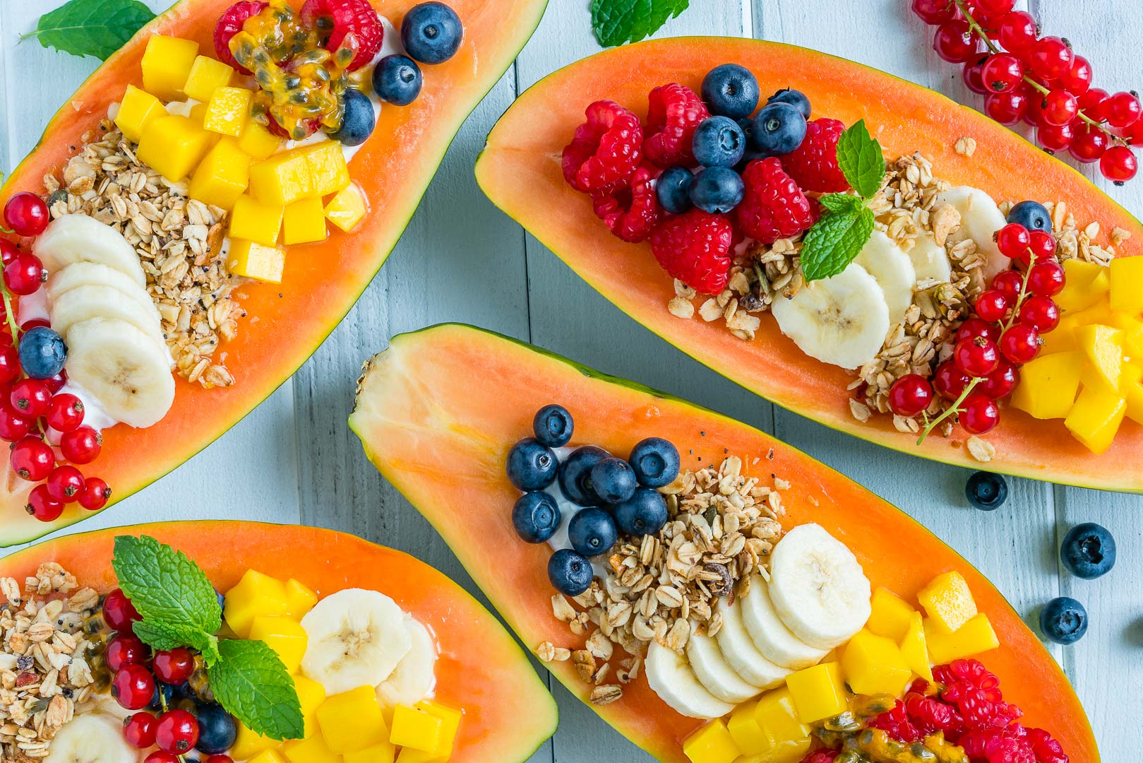 CleanFoodCrush Breakfast Papaya Boats
