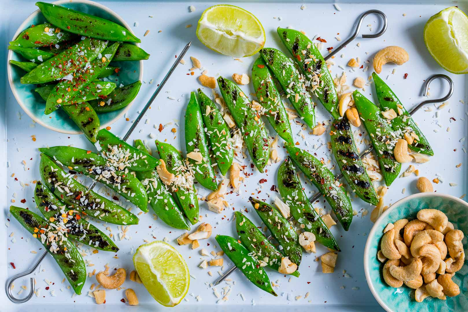 Eat Clean Grilled Peas with Toasted Coconut + Cashews