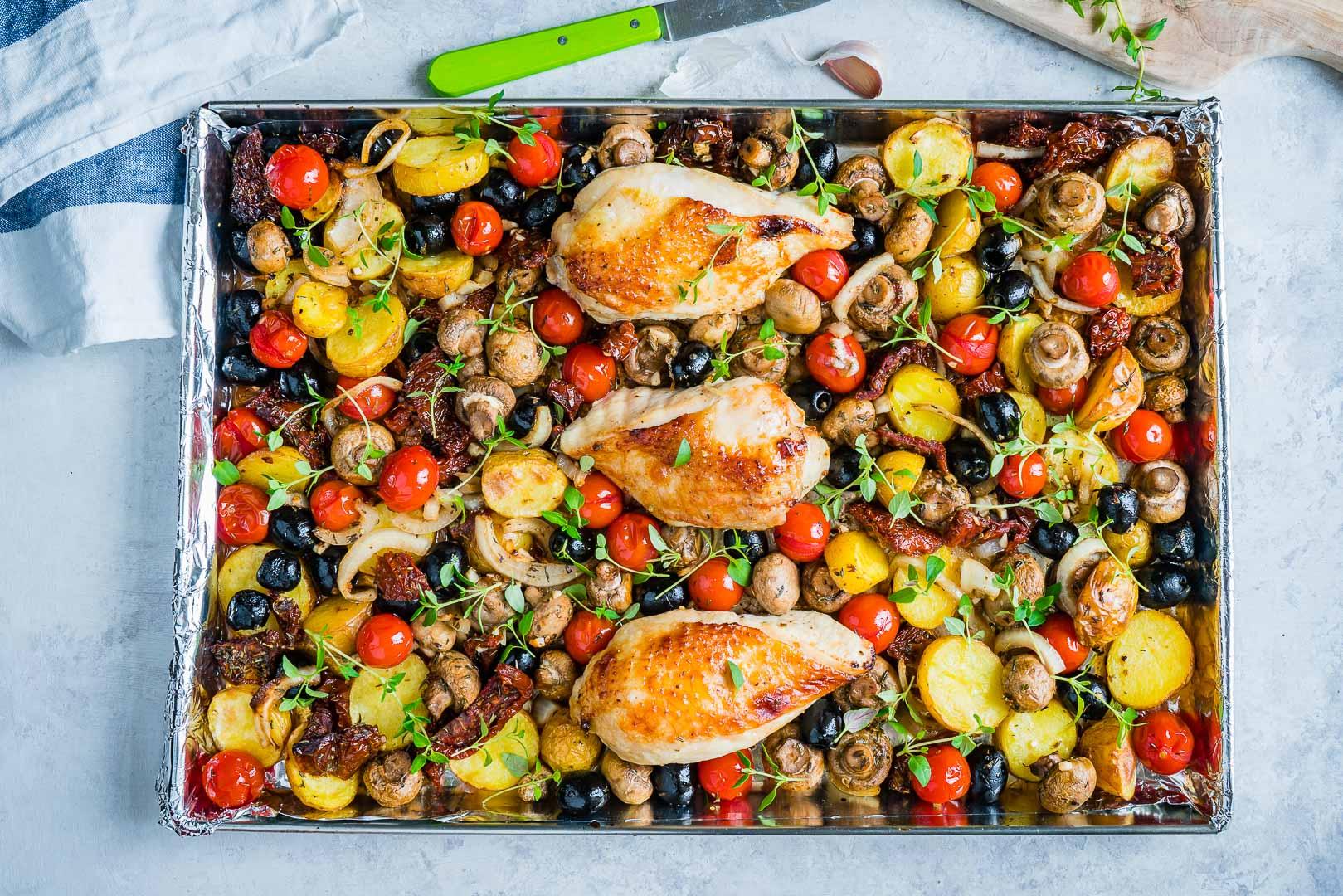 One Sheet Pan Tuscan Chicken Recipe
