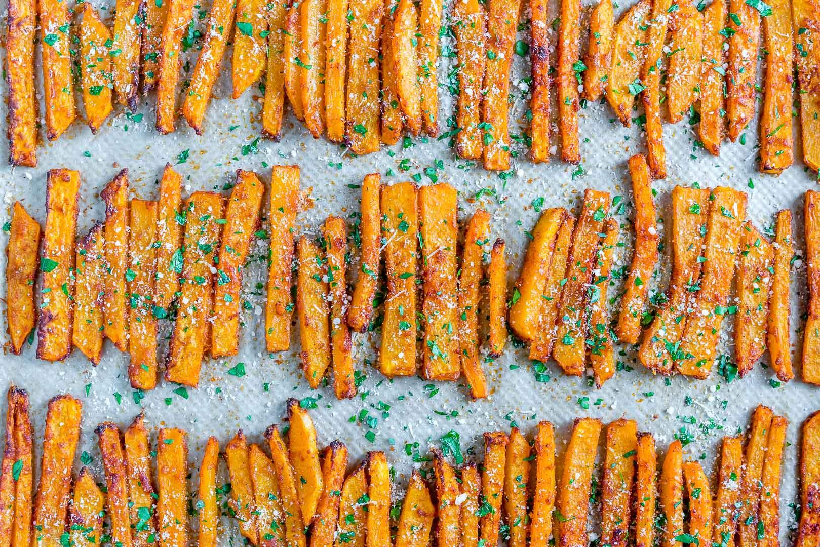 Baked Parmesan Butternut Squash Fries recipe
