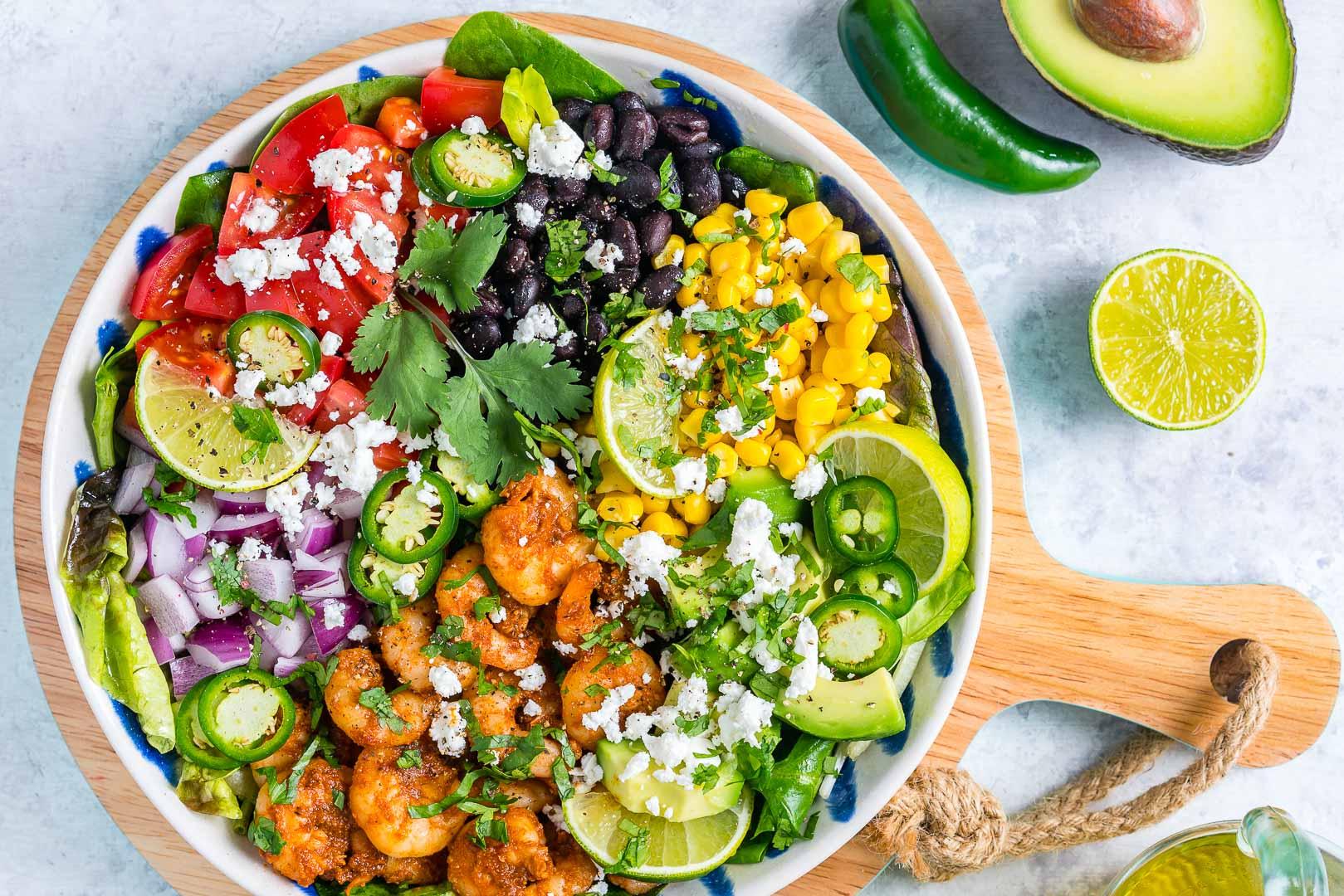 Best Avocado-Lime Shrimp Taco Salad Recipe