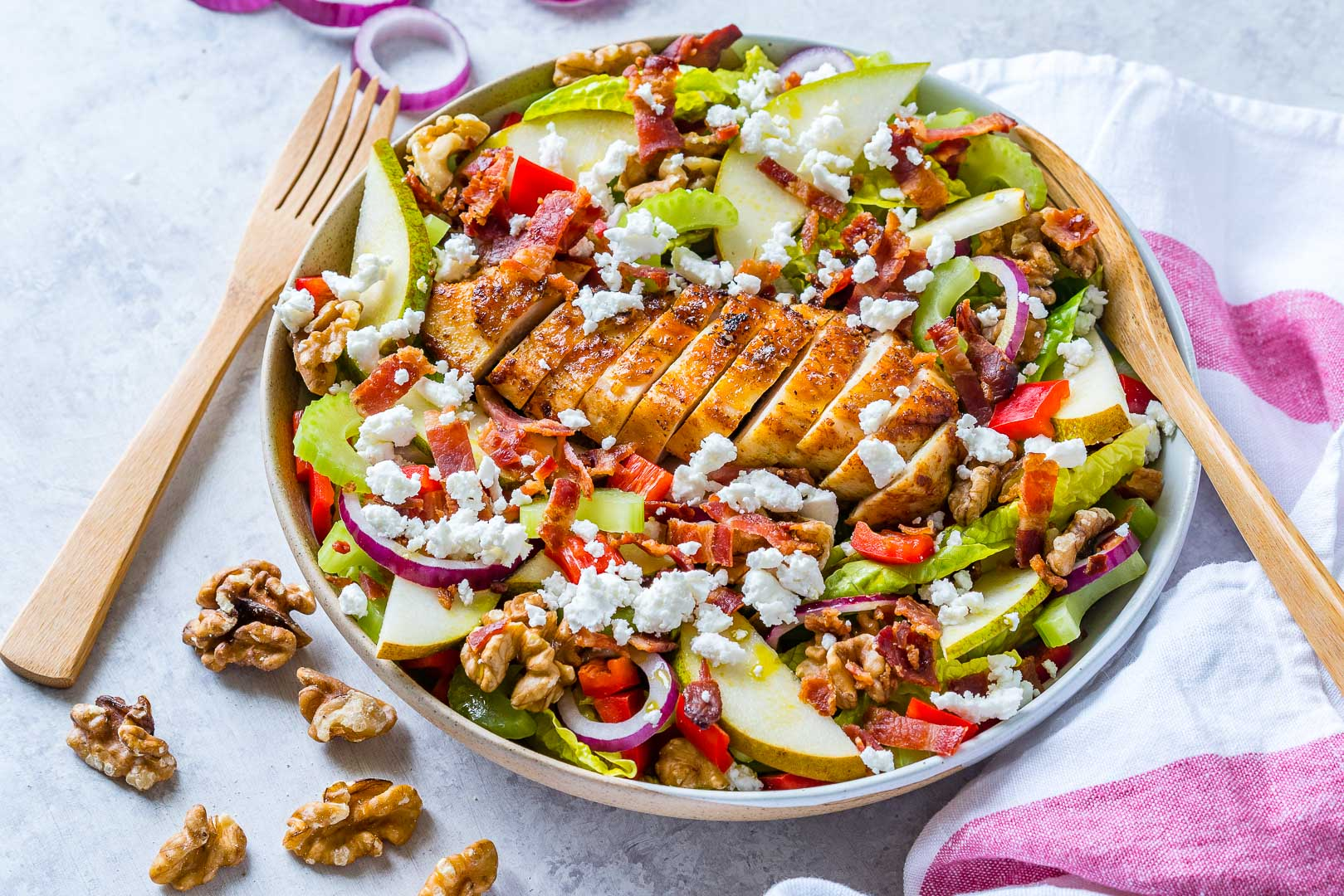 Clean Eating Autumn Pear + Goat Cheese Chicken Salad