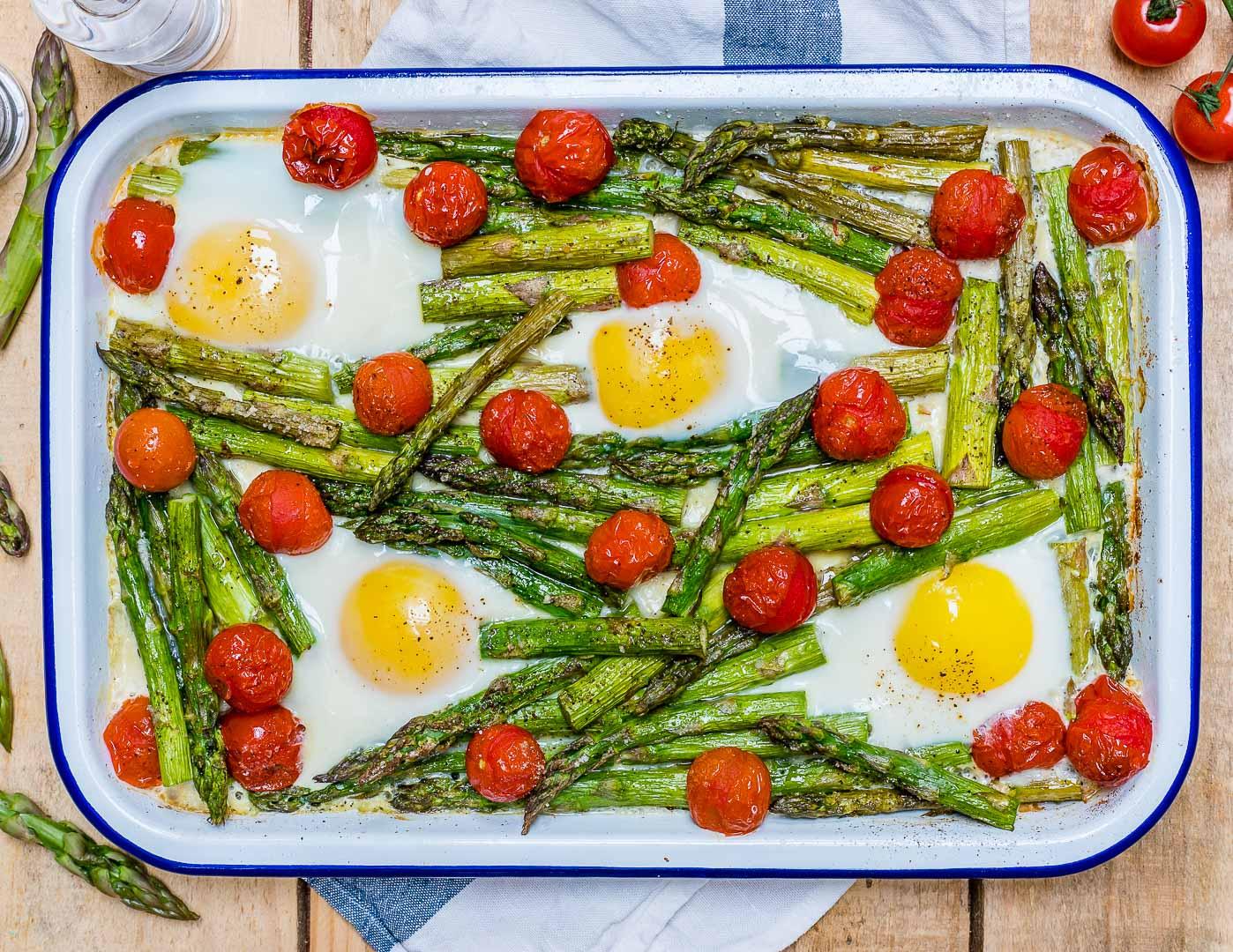 Roasted Tomato Asparagus Egg Bake Clean Eating