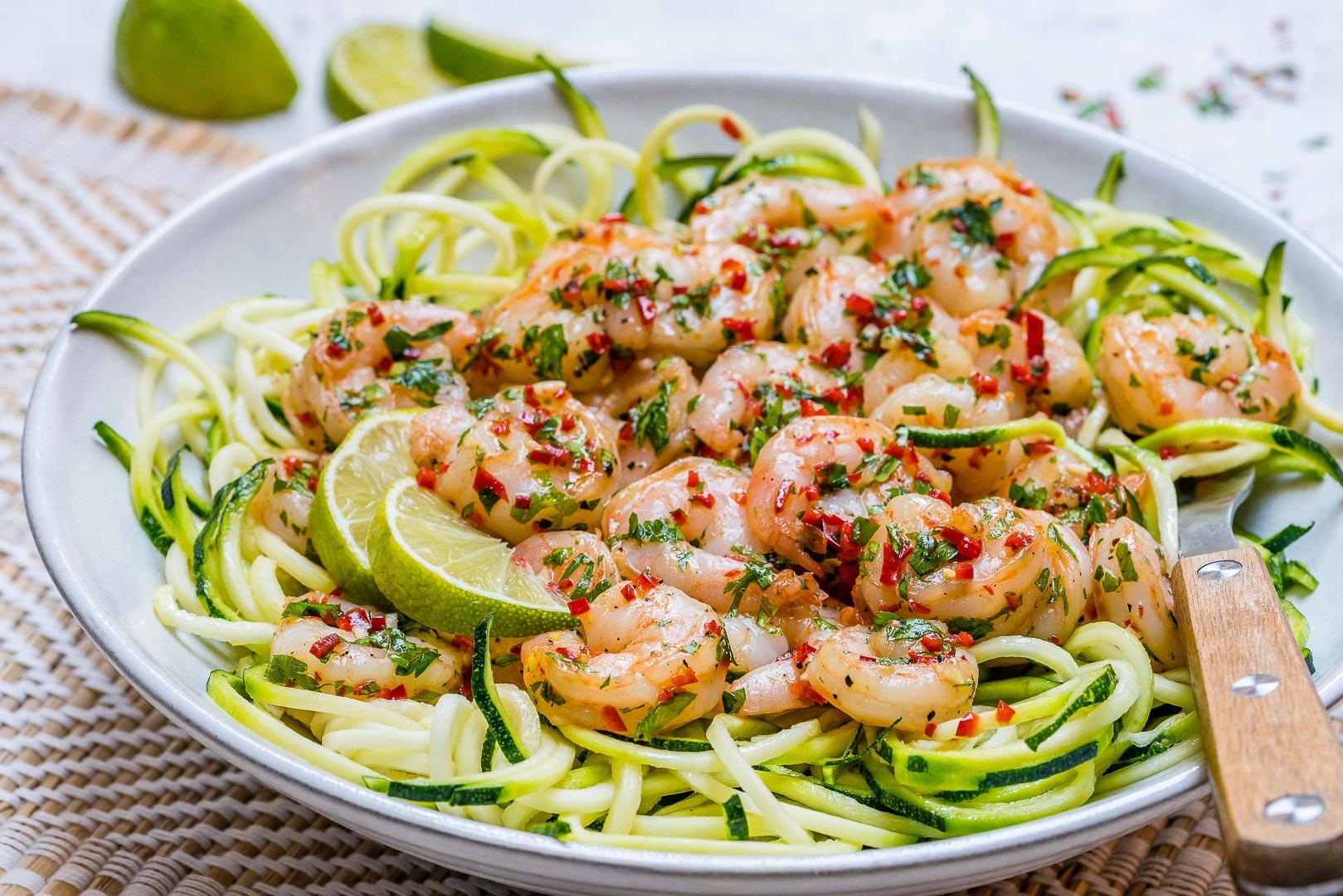 Chili Garlic Shrimp Zoodles Healthy Clean Eats