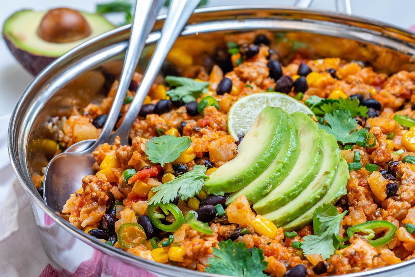 Taco Cauliflower Rice Skillet Recipe by CleanFoodCrush