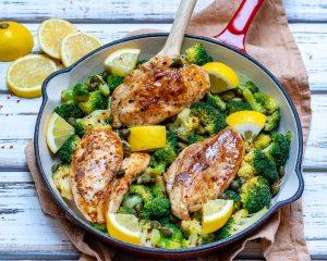 Eat Clean Lemony Chicken + Broccoli Skillet Meal