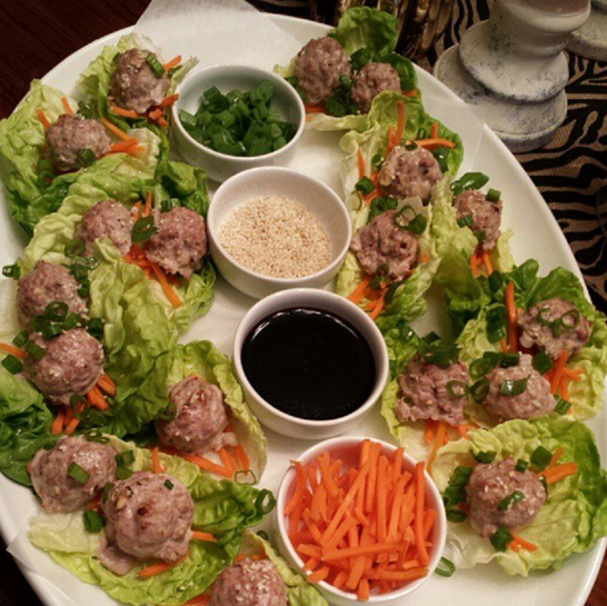 Ginger Turkey Meatballs on Butter Lettuce Leaves