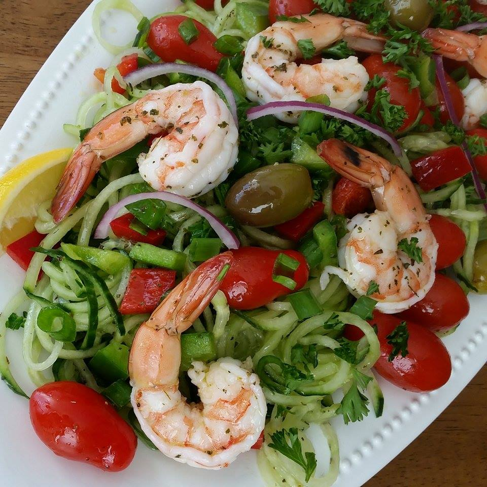 Panderno Spiralizer Cucumber Noodles with Shrimp and Homemade Greek Dressing